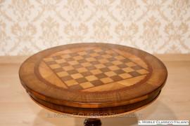 Tavolino da gioco scacchi rotondo intarsiato